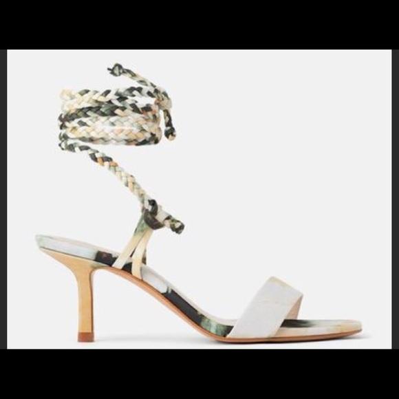 Zara New Tie Dye Ankle Wrap Sandal